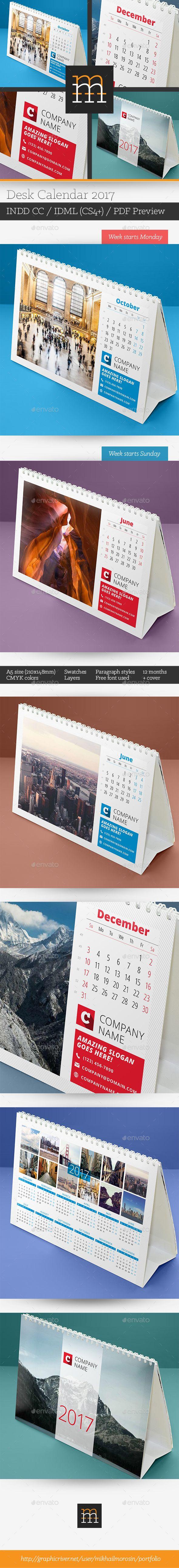 Desk Calendar 2017 Template InDesign INDD. Download here: https://graphicriver.net/item/desk-calendar-2017/17371246?ref=ksioks