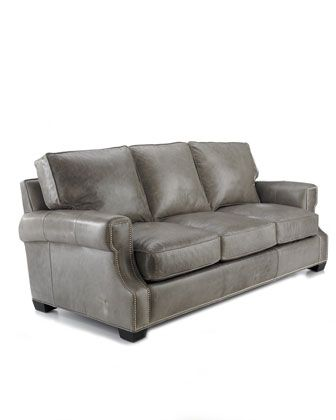 LaZBoy Talbot Sofa In Gray Leather With Nailhead Trim Accent |  Www.decorchick.com | Living Rooms | Pinterest | Nailhead Trim, Talbots And  Gray