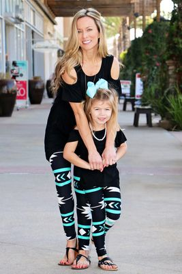 Mommy & Me Black and Turquoise Tribal Leggings- Adult