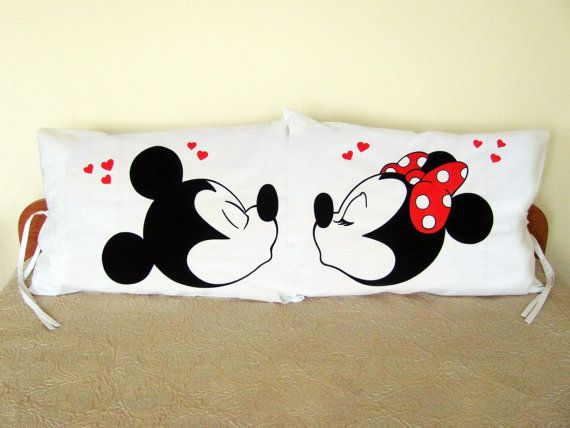 Mickey and Minnie Mouse Kiss Couple Pillow Cases by HandmadeNel
