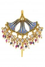 Tribebyamrapali-Silver Gold Plated Enamelled Fan Glass Pearl Drop Juda Pin