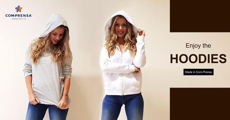 Enjoy the hoodies, 100% cotton, made in Com-Prensa  #comprensa #model #fashion #manufacturer #design #company #textile #portugal #jersey #fleece #cotton #bio #sublimation #screenprinting #digitalprint #laser #photoprint
