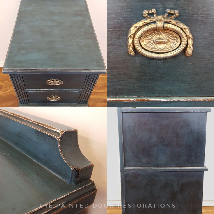Detailed shots of the Aubusson Blue side Table.