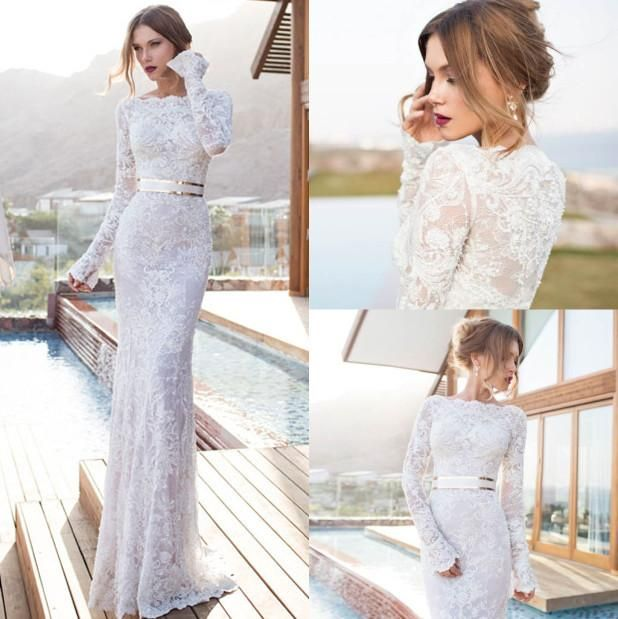 Berta Beach Lace Long Sleeves Wedding Dresses Formal Bateau Neck with Sash Pearls Sheath Sweep Train Illusion Backless Bridal Dress Gowns Online with $159.27/Piece on Marrysa's Store   DHgate.com