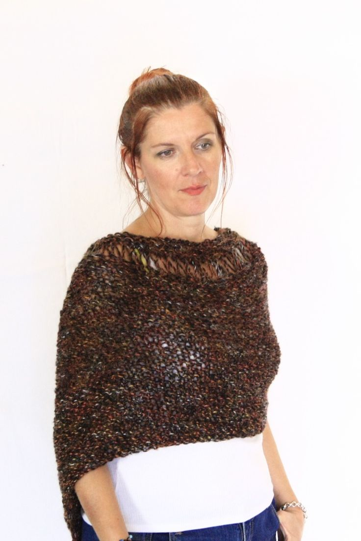Brown poncho, handknit wrap, Eudora Neckline, loose knit poncho, ready to ship