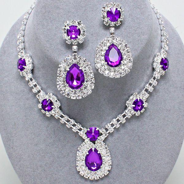 Prom party pink diamante necklace set dVSJYpRBRV