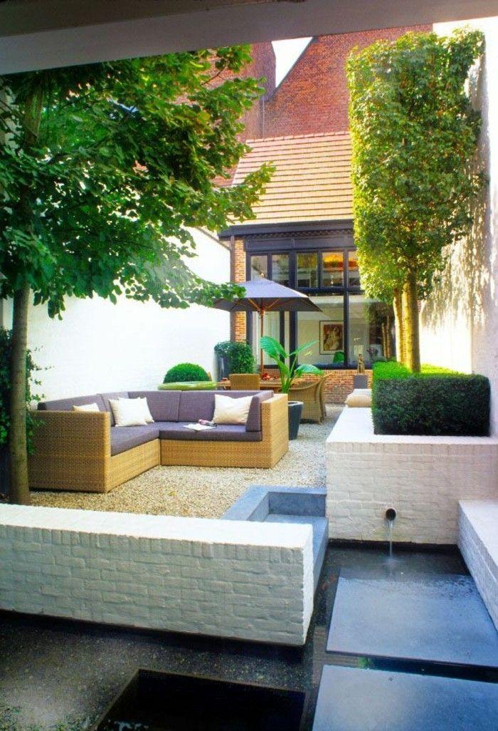 Garten Gestalten Bilder Gartenideen Wasser Pflanzen Kies Elegante  Rattanmöbel