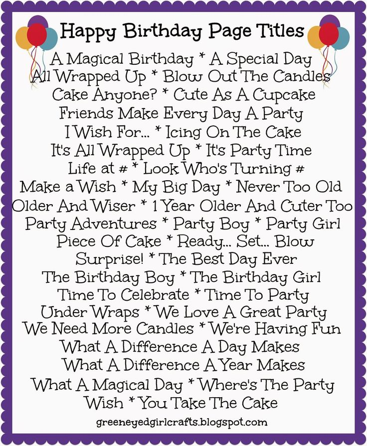 Birthday Page Titles - #CreativeMemories