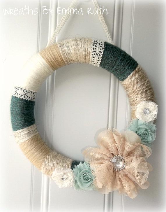 Shabby Chic Yarn Wreath Blue and Cream with by WreathsByEmmaRuth