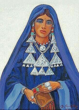 Peinture d'Algérie par le Peintre Français, Benjamin Sarraillon (1902-1989), Huile sur parchemin, Titre: Femme du Hoggar, Targuia