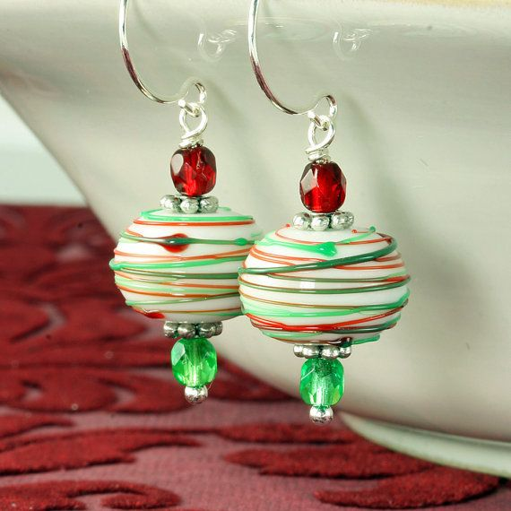 Christmas Earrings Peppermint Earrings by ForTheCrossJewelry, $25.00  very pretty
