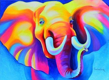 Elephant portrait kleurrijke olifant schilderij