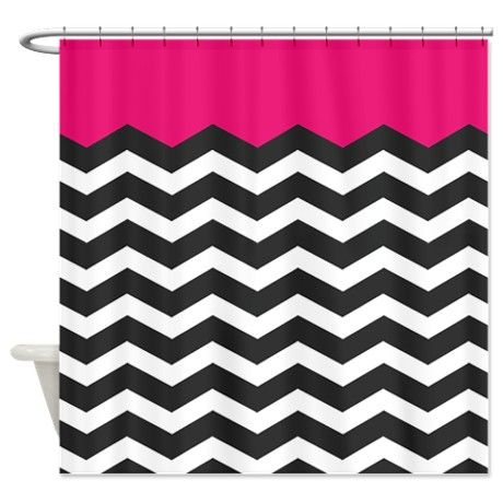 Hot Pink black and white Chevron Shower Curtain on CafePress.com