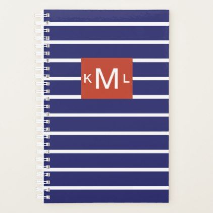 Blue Horizontal Stripes Red Monogram Template Planner - monogram gifts unique design style monogrammed diy cyo customize