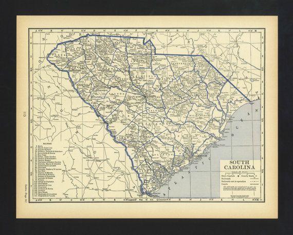 Vintage Map South Carolina From 1930 Original