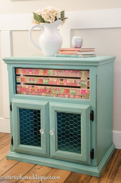 old tv stand gets a makeover you d never expect, decoupage, painted furniture, repurposing upcycling, woodworking projects