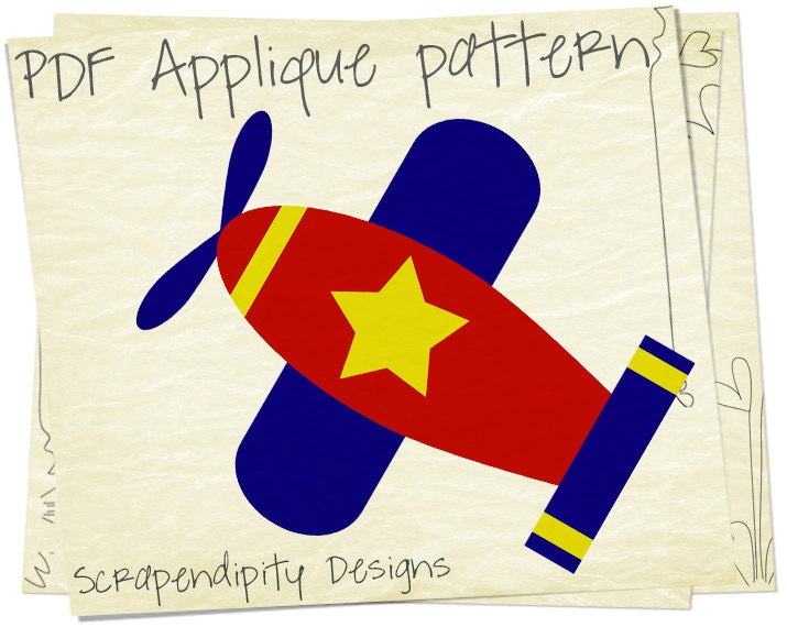 Airplane Applique Pattern - Baby Applique Template / DIY Infant Airplane Shirt / Kids Baby Nursery Blanket / Airplane Sewing Pattern AP127. $2,50, via Etsy.