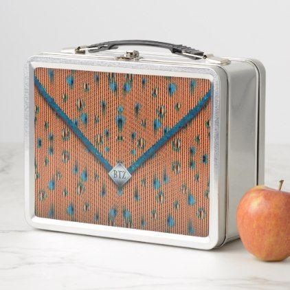 Orange and Blue Envelope Clutch Bag Metal Lunch Box - pattern sample design template diy cyo customize