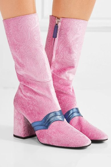 Heel measures approximately 80mm/ 3 inches Pink velvet, navy leather Zip fastening along side