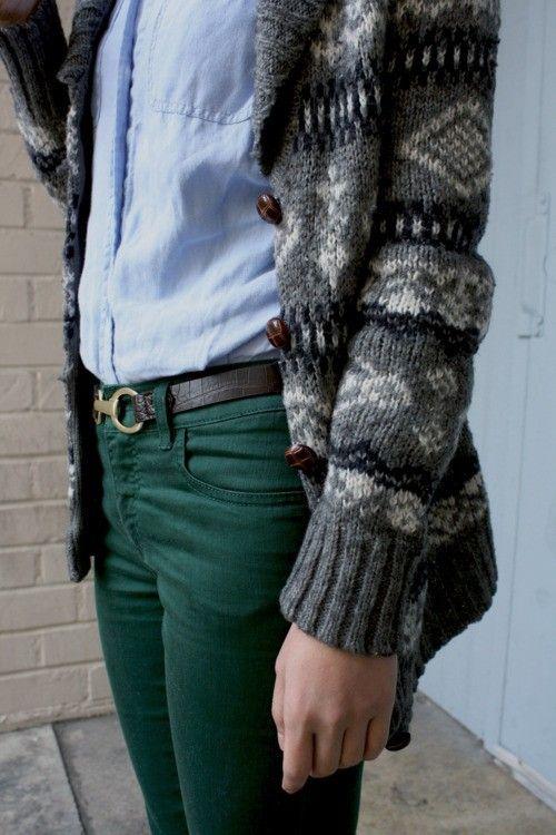 Oxford shirt + printed cardigan + colored denim