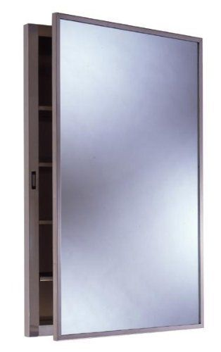 """Bobrick B398 Recessed Medicine Cabinet, Stainless Steel, Each by Bobrick. $281.00. Bobrick B398 Recessed Medicine Cabinet, Stainless Steel. Recessed Medicine Cabinet, type 304 stainless steel, satin finish. High quality mirror, 1/4"""" glass electrolytically copper-plated. 15 year guarantee against silver spoilage. Door has full length stainless steel piano hinge, magnetic catch and cable doorstop. Four adjustable stainless steel shelves, cabinet may be inverted for right or left ha..."""
