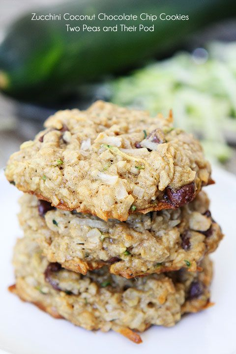 Zucchini Coconut Chocolate Chip Cookies on twopeasandtheirpod.com A great way to use up your zucchini!