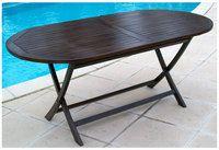 Dimensions de la table de jardin : diamètre de 180x90 cm Épaisseur de la table : 26 mm Poids de la table : 30 kg Matière : TECK massif Origine : Plantation d'Indonésie Finition : Traitement huile de teck