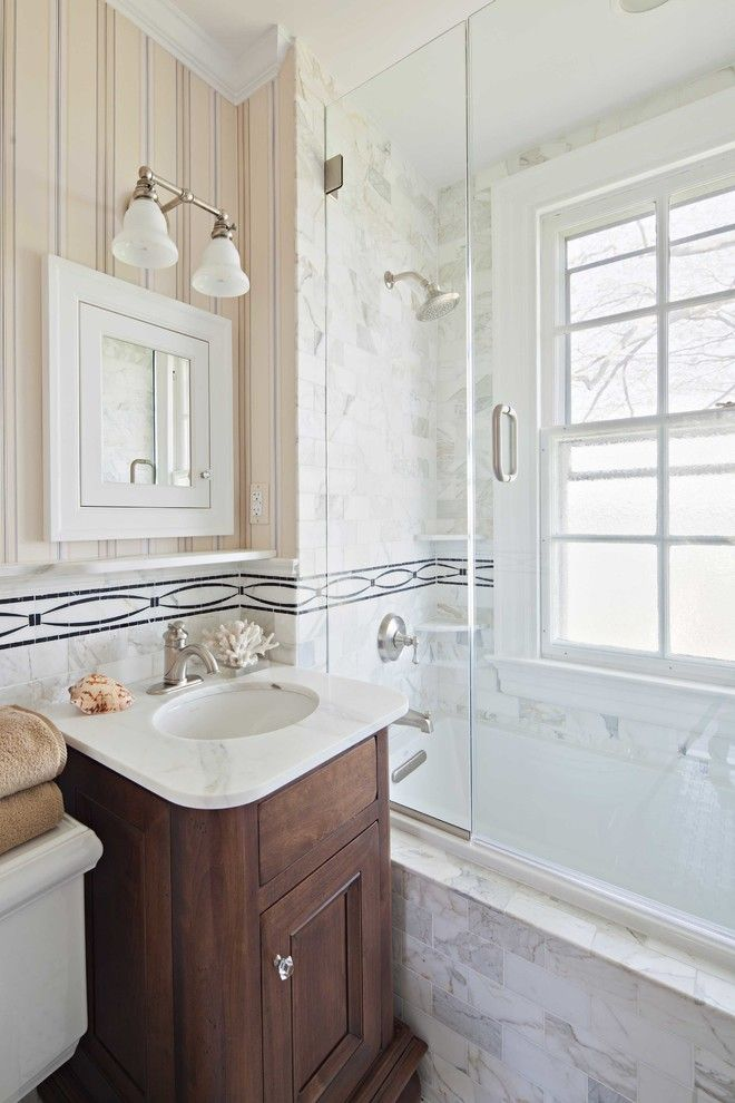 glass doors for bathtub wooden cabinet marble sink faucet towel rack lamp beach style of Modernly Awesome Glass Doors for Bathtub to be Stunned By