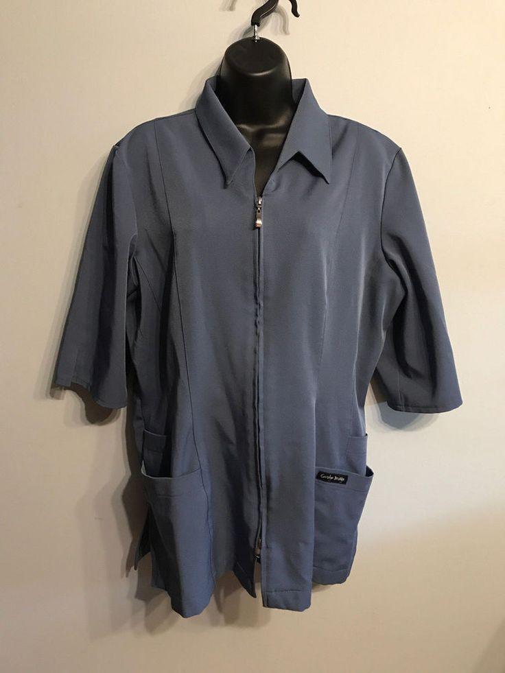 Carolyn Design Women's Scrub Top Nurse Uniform Size XL Gray Charcoal Medical #CarolynDesign