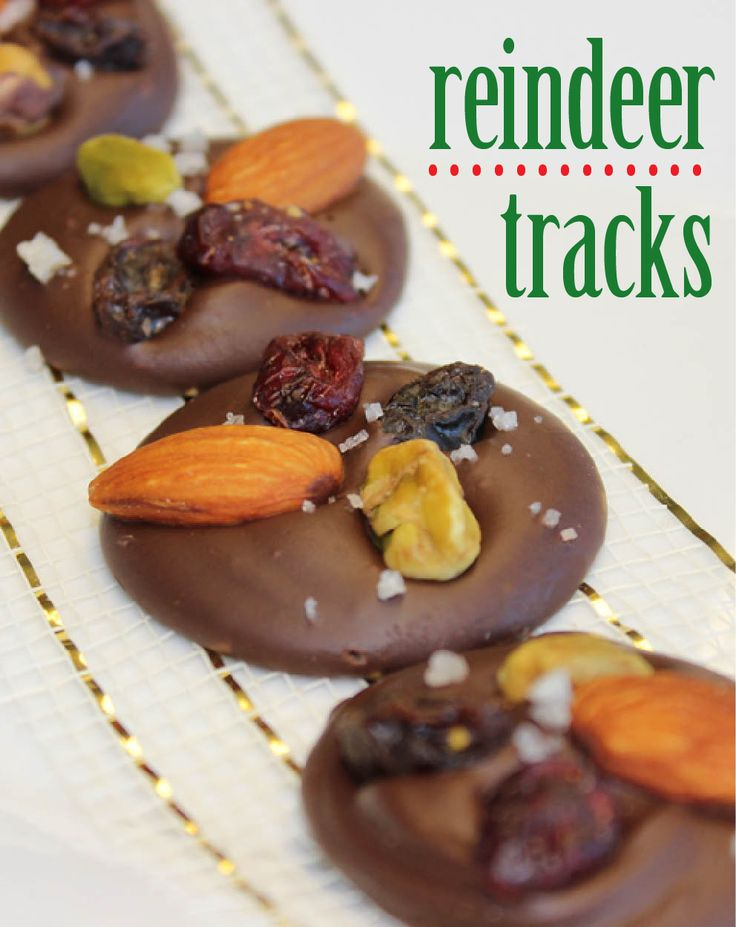 Looking for an easy yet decadent appetizer to bring to a party? These Reindeer Tracks are guaranteed not to last long and to rack up the complements! Simple chocolaty flavors are complemented with nuts, dried berries, and dash of sea salt.