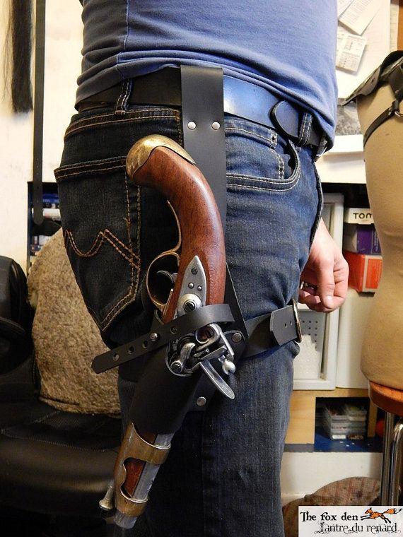 Pirate universal leather leg holster for by lantredurenard on Etsy $45