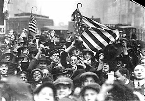 Armistice Day, 1918, Chicago (Veteran's Day used to be called Armistice Day to commemorate the cease-fire of WWI on Nov. 11th)