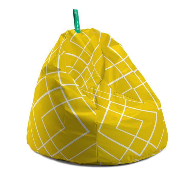 Fotoliu bean bag - yellow stripe