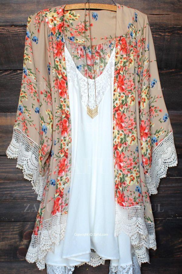 Floral Print Lace Splicing Long Sleeve Kimono