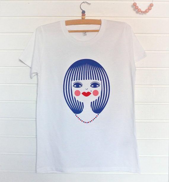 Women's Organic white tshirt Screen print  Stylish by DURIDO, $25.00