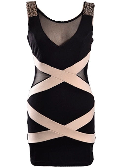 Ribbon Rhapsody Dress: Features amazing jewel-encrusted shoulders, sexy mesh insets at neck and sides, criss-crossing beige bandage straps providing elegant contrast to the front, and a deep rear scoop design to finish.