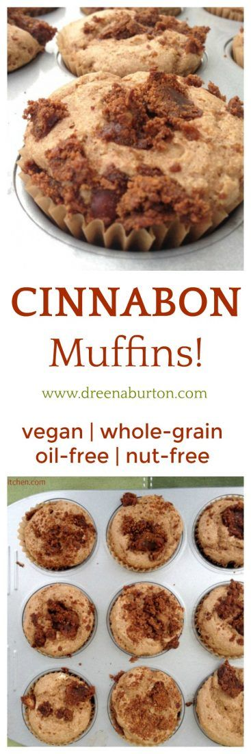 Introducing Cinnabon Muffins! The taste of Cinnabon, baked up in a healthy muffin! Whole-grain, vegan, nut-free, and also oil-free.