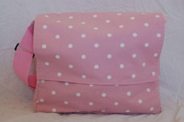 Pink polkadot messenger bag, change bag £40.00