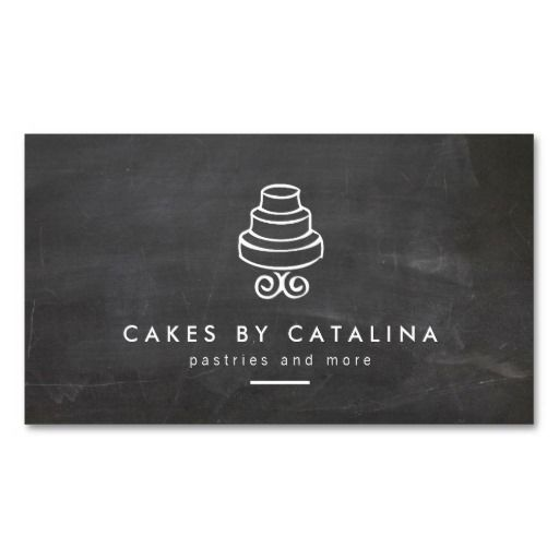 Vintage Tiered Cake Design on Chalkboard Bakery Business Card Template - Click to Personalize for Your Business or Personal Brand.