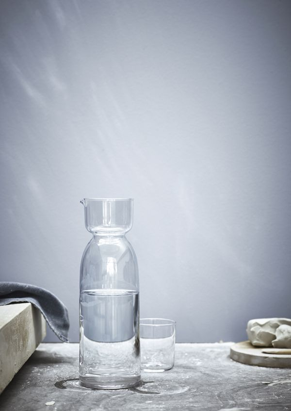 Handmade all through, the IKEA VIKTIGT limited collection is created in collaboration with Ingegerd Råman, one of Scandinavia's most well-known glass designers and ceramists. A simple carafe with a glass becomes beautiful.