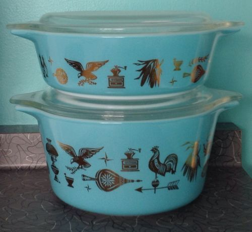 VERY RARE PYREX EARLY AMERICAN AMERICANA BLUE GOLD CASSEROLE BOWL DISH TURQUOISE...$1500 on eBay!!