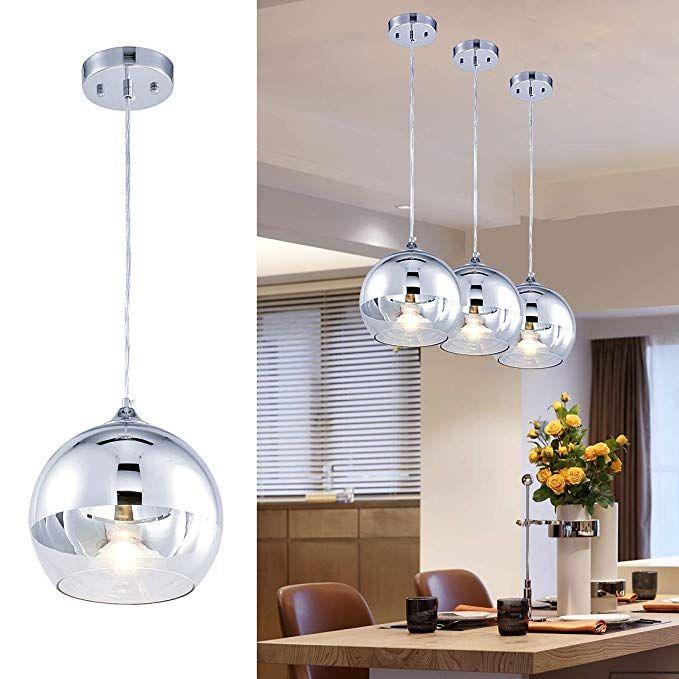 Globe Pendant Light 9 Hand Blown Glass Hanging Light Polished