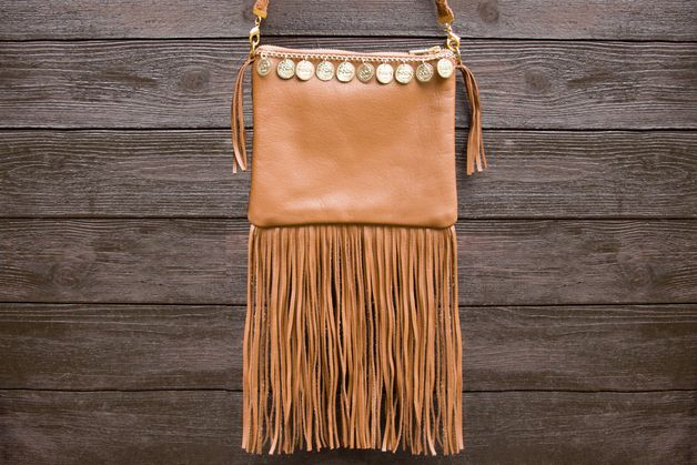 Leder-Fransentasche, Hippie, Boho-Chic // fringed leather bag by Viktoria Boldt via DaWanda.com