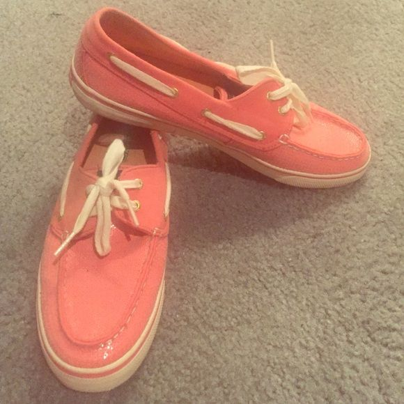 Glitter pink Sperrys Sz 10 Lightly worn glitter pink Sperrys size 10 Sperry Top-Sider Shoes Flats & Loafers