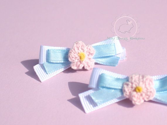 Two crochet flower bows hair clip handmade by MintBunnyCreations