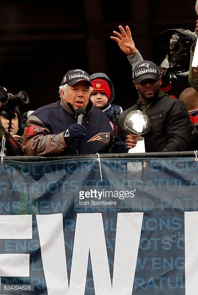 New England Patriots Chairman and CEO Robert Kraft chats with the crowd during the Patriots Victory Parade through the streets of Boston on February...
