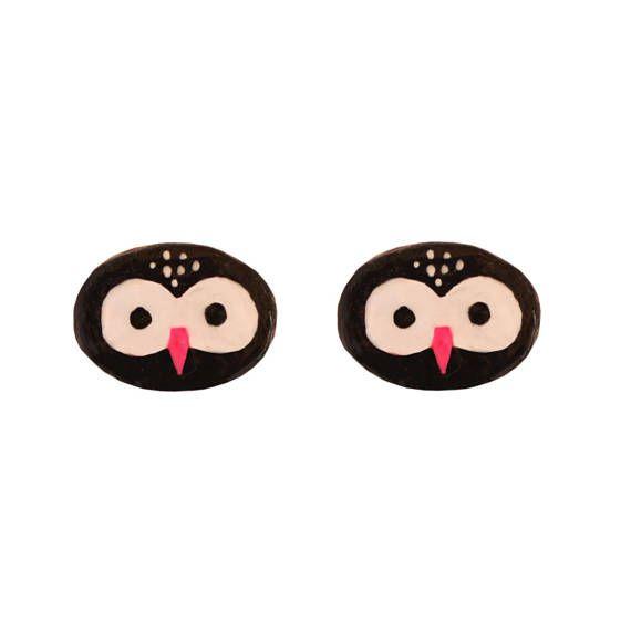 OWL Earings BLACK OWLS studs