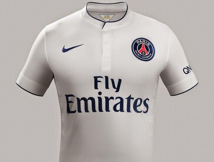nike psg Exterieur equipement de maillot de foot pas cher 2014-2015 blanc Fly Emirates