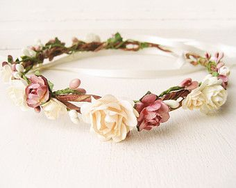 Flower crown, Rustic wedding hair accessories, Bridal headpiece, Floral headband, Wreath, Pink, Ivory - MACAROON