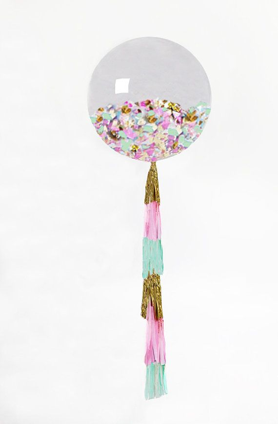 """Giant Balloon with Tassel and Confetti Custom Colors 36"""" Balloon with 6 Foot Fringe"""